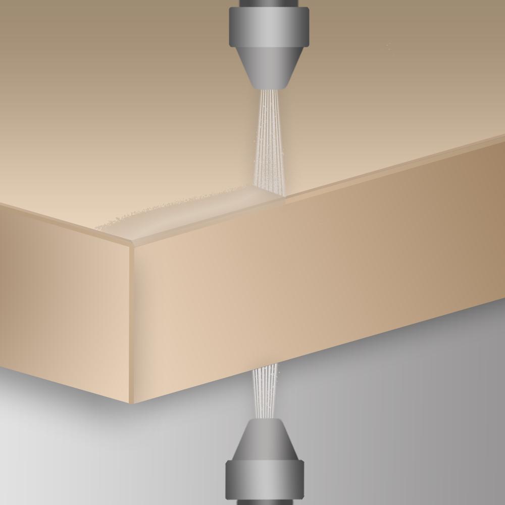 Maschinelle Anwendung des STOPGAP Fluids mit Präzisionsdüsen.