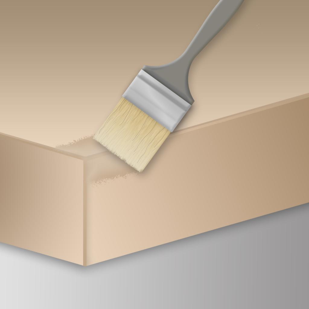 Manuelle Anwendung des STOPGAP Fluids mit einem Pinsel.